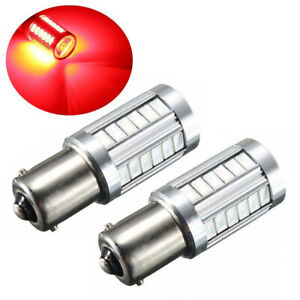 2pc Red 1156 Ba15s P21w Led 33smd Car Tail Turn Brake Reverse Signal Bulb