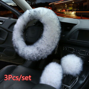 3pcs Fur Wool Car Steering Wheel Cover Soft Plush Furry Fluffy Winter Must Have