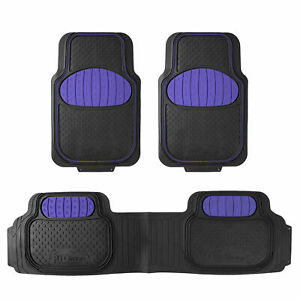 Touchdown Floor Mats 3pc Full Set For Auto Car Sedan Suv Van Blue Black