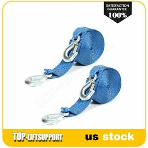 13000lbs Tow Strap 2 X 20ft Winch Tree Saver Protector W Hooks Snatch 2pcs