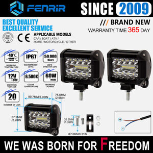 2pcs 4 Inch 60w Work Light Bar Led Lamp Pods Flood Spot Combo Suv For Jeep Truck