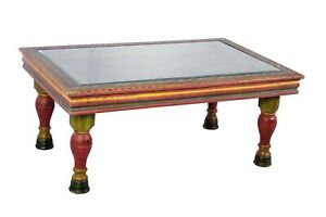 Carved Painted Iron Grill Wooden Coffee Table
