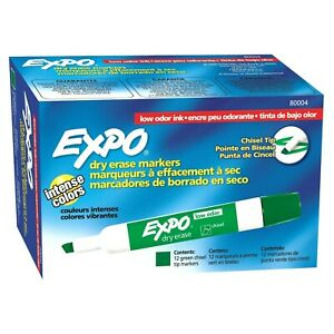 Expo 80004 Low Odor Dry Erase Markers Chisel Tip Green Color 12 Sets With 12