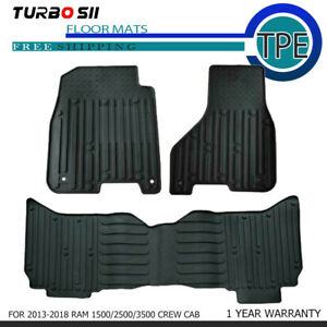 Newest For 2013 2018 Ram 1500 2500 3500 Crew Cab Front rear Black Tpe Floor Mats