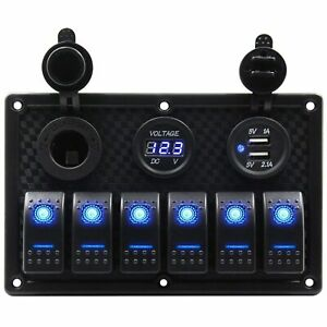 Waterproof 6 Gang Marine Boat Rocker Switch Panel With Fuse 4 2a Dual Usb Slot