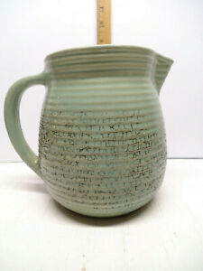 Vintage Monmouth Western Pottery Milk Pitcher Crock Green Ribbed Maple Leaf