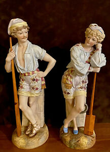 Antique German Scheibe Alsbach Pair Of Bisque Figurines Of Boat People Rare