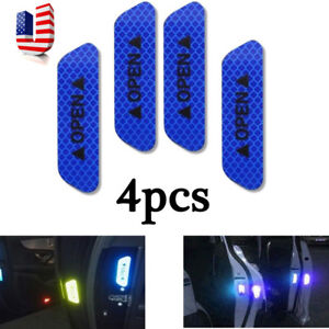 4xsuper Blue Car Door Open Sticker Reflective Tape Safety Warning Decal Carparts