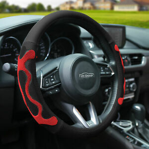 Universal Leather Steering Wheel Covers For Auto Car Suv Van Black Red