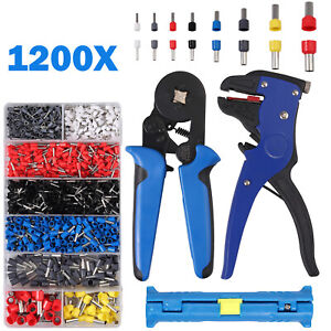 Crimp Tool Kit Ferrule Crimper Plier Wire Stripper 1200pcs Terminal Connectors