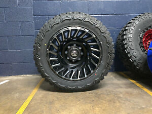 20x10 Fuel D683 Cyclone Wheels Rims 33 Mt Tires 5x150 For Toyota Tundra Sequoia