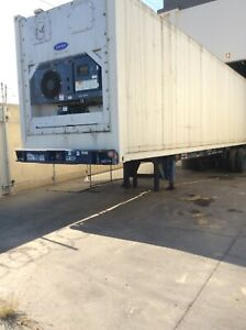 40 Ft Used Reefer High Cube Container W Chassis And 4 Yrs New Fridge Unit