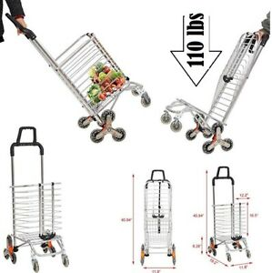 Shopping Cart Folding Grocery Cart With Climbing Stairs Wheels Hand Truck 2 In 1
