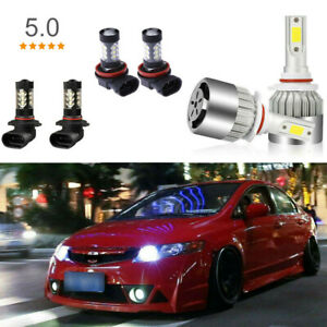 6pcs Led Combo For Honda Civic 2006 2015 High Beam Daytime Running Fog Light Drl