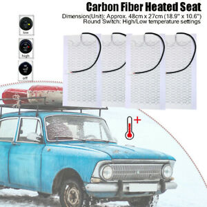 2 Seat Carbon Fiber Heated Seat Heater Kit Car Cushion Round High low Switch 12v