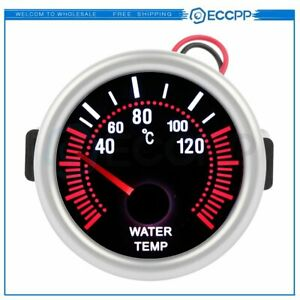 2 52mm Universal Led Smoke Lens Water Temp Gauge Meter With Temperature Sensor