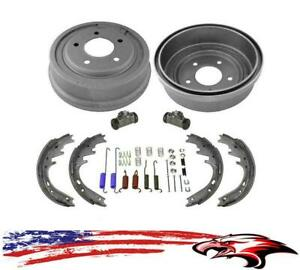 New Rear Drums Shoes Wheel Cylinders Spring Kit 6pc For Ford E150 F150 87 96