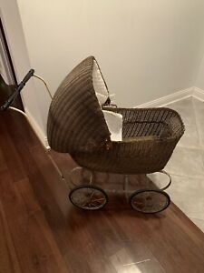 Antique Vintage Lloyd Loom Wicker Baby Carriage Buggy Stroller
