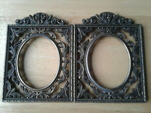 Vintage Italian Metal Frames Oval Picture Windows Two 2