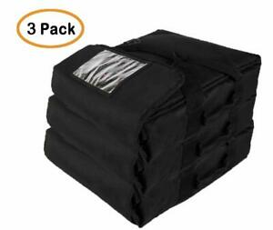 Professional Heavy Insulated Pizza Delivery Bag 20 x20 x9 pack Of 3 Black