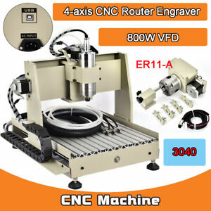 4 Axis 800w Vfd 3040 Usb Desktop Ball Screw Cnc Router Engraving Milling Machine