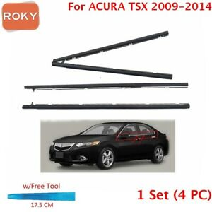 For Acura Tsx Sedan 2009 2014 Window Weatherstrip 4pc Sweep Belt Outer Chrome