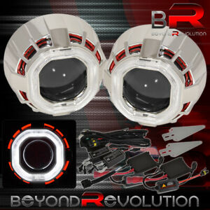 Head Lights Retrofit Projector Bi Xenon Shroud Ccfl Dual Halo Ring 2 5 H1 Hid