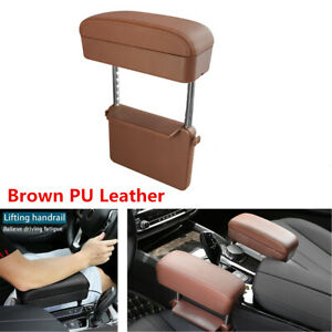 Universal Car Seat Gap Elbow Arm Rest Support Pad Adjustable Armrest Box Brown