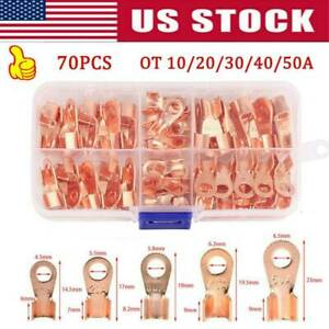 70pcs Copper Battery Cable Connector Terminal Open Lug Wire Terminals Kit 10 50a