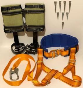 Tree Climbing Spike Set Safety Belt With Straps Safety Lanyard With Carabiner