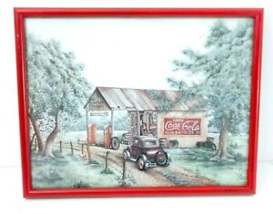 Martins Garage Coca Cola Antique Gas Station framed Country Picture Print