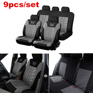 9x Universal Car Seat Covers Full Set Front rear Seat Back Head Rest Protector