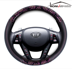 Car Steering Wheel Cover 15 Pu Leather With Pink Flower Universal Fit M Size