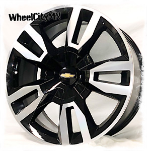 22 Inch Black Machine 2020 Chevy Tahoe Rst Silverado Oe Replica Wheels 6x5 5 24