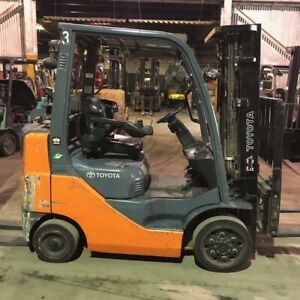 2015 Toyota 5000lbs Used Forklift Lp Gas Triple Mast Sideshift 7500 Hours