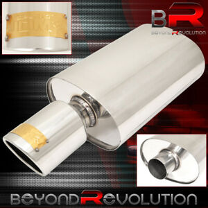 Jdm Sport Racing Exhaust Muffler Stainless Steel Oval Canister Center Inlet 2 5