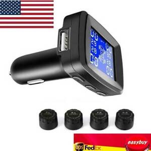 Tpms Tire Pressure Monitoring System With 4 External Sensors Usb Charging Port
