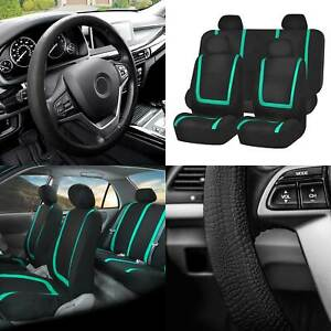 Flat Cloth Car Seat Covers Full Set Mint W black Silicone Steering Wheel Cover