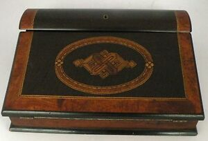 Antique Fine Writing Lap Travel Desk Letter Box Wood Inlay Burl Wood Ink Well