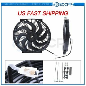 Radiator Condenser Cooling Fan For Chrysler Dodge Ford Buick 14 Inch 2x Push