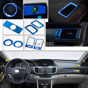 7x For Honda Accord 2013 2017 Blue Stainless Car Interior Kit Decoration Cover