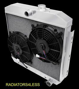 New Champion 4 Row Radiator W 10 Fans 55 56 57 Chevy Bel Air V8 Core Support