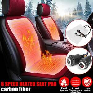 2seats 6 Level Carbon Fiber Car Heated Seat Pads Heater Cushion Switch Universal