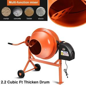 Concrete Mixer Electric Cement Mixers Portable 2 1 5 Cubic Ft Drum Mortar Orange