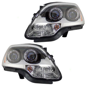 Headlights Set Fits 2007 2012 Gmc Acadia Pair Halogen Blue Lens Headlamp Housing