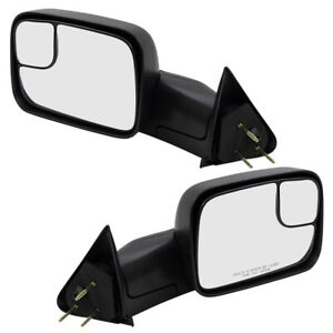 Pair Tow Mirrors For 94 02 Dodge Ram Pickup Truck Manual 7x10 Flip up Brackets