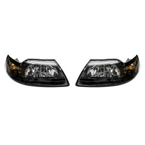 Pair Headlights Fits 1999 2004 Ford Mustang Smoked Lens With Black Bezels Set