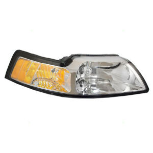 Headlight Fits 1999 2004 Ford Mustang Passenger Side Halogen Lens Assembly