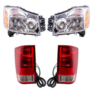 Headlights For 2004 2007 Nissan Titan W Out Utility Bed 4 Pc Set W Tail Lights