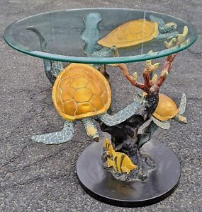 Large Vintage Marine 20th C Bronze Ocean Sea Turtle Fish Side Table Nautical
